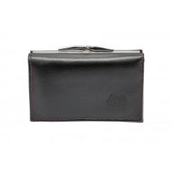 LEVY portfel damski skóra czarno-czerwony