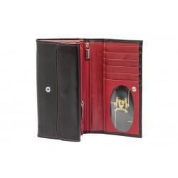 LEVY portfel damski długi skóra czarno-czerwony